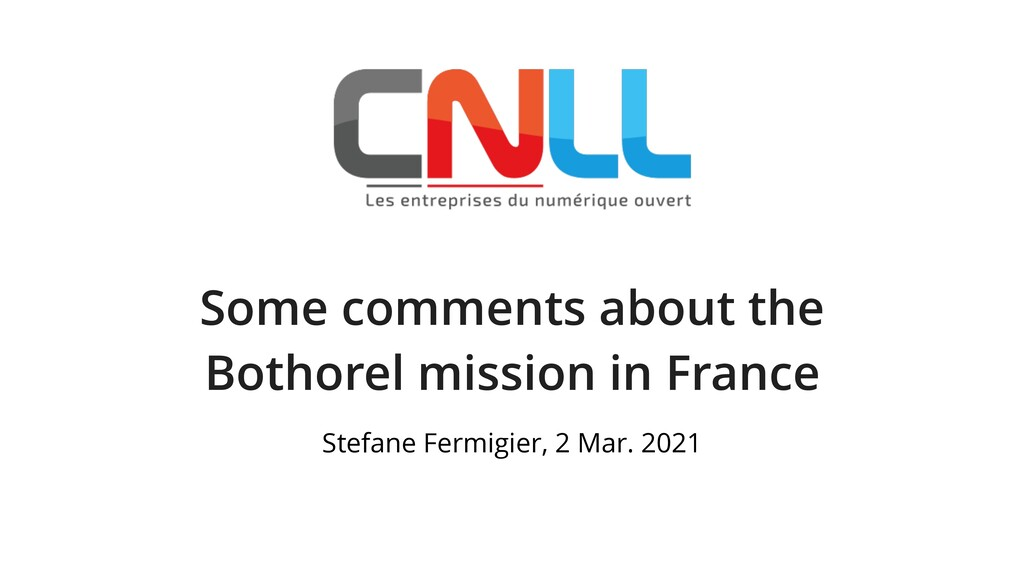 Some comments about the Bothorel mission in Fra...