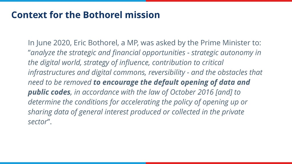 Context for the Bothorel mission In June 2020, ...