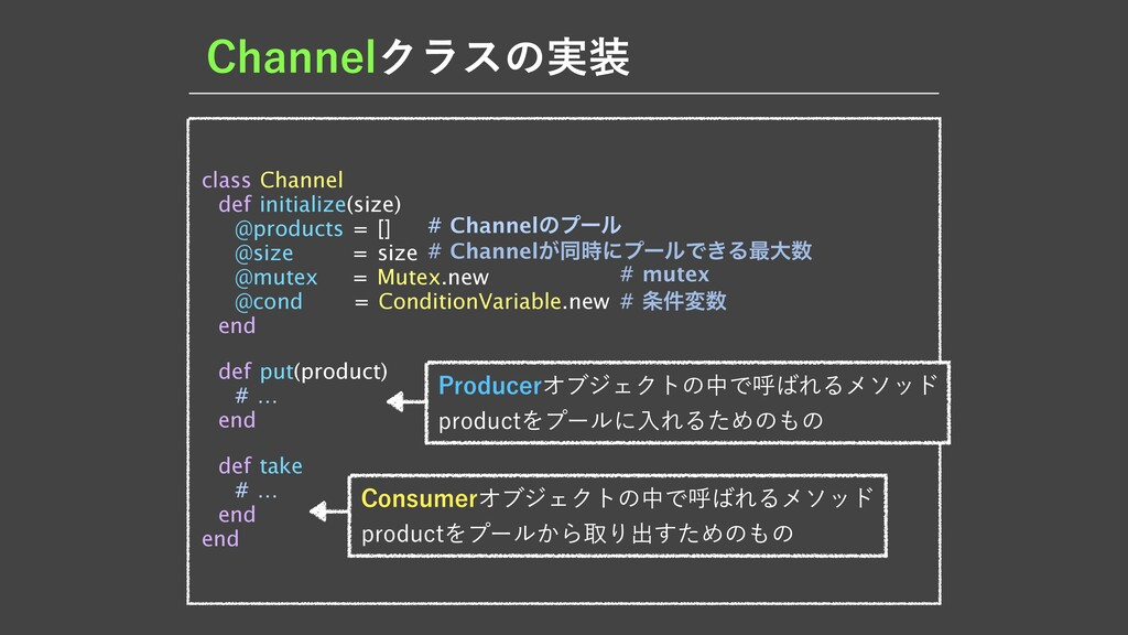 $IBOOFMΫϥεͷ࣮ class Channel  def initialize(siz...