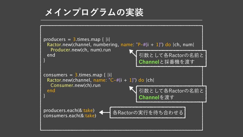 ϝΠϯϓϩάϥϜͷ࣮ producers = 3.times.map {  i   Ract...