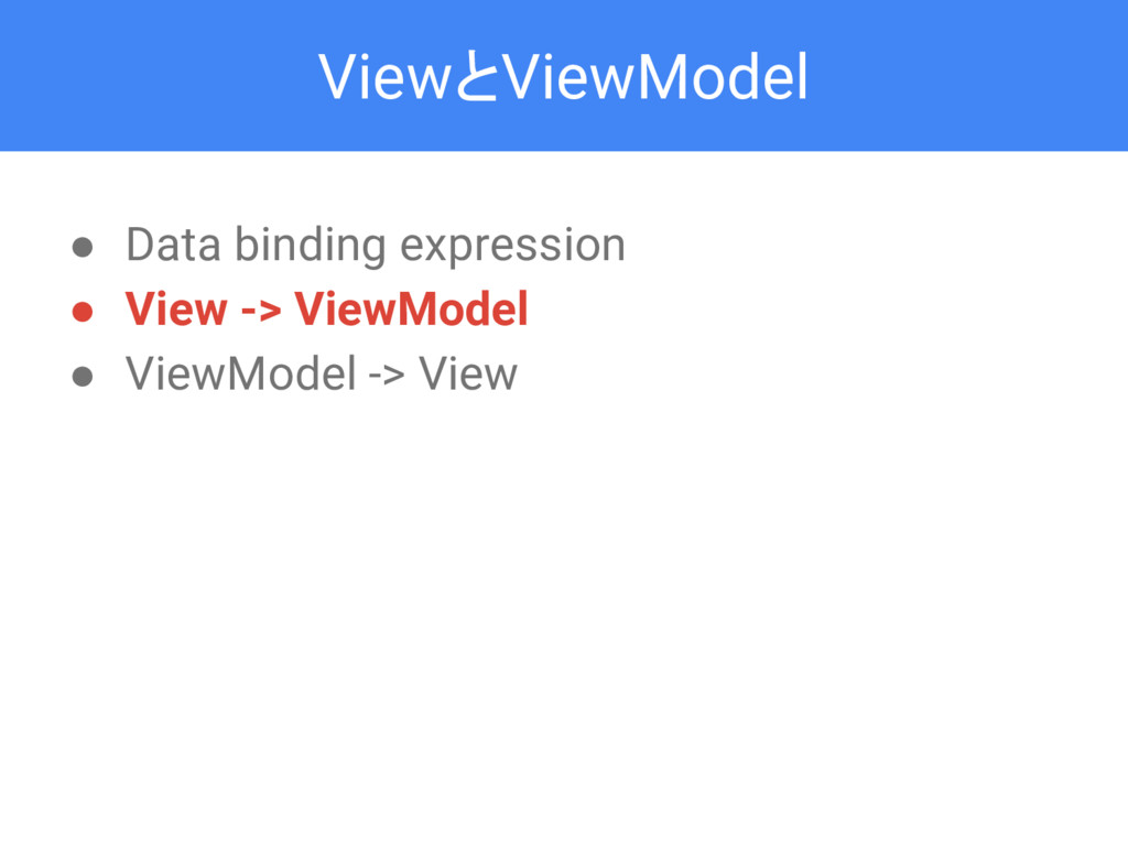 ViewとViewModel ● Data binding expression ● View...
