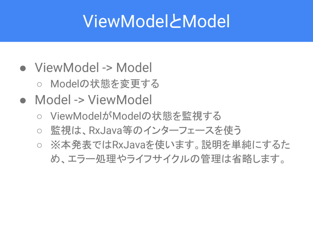 ViewModelとModel ● ViewModel -> Model ○ Modelの状態...
