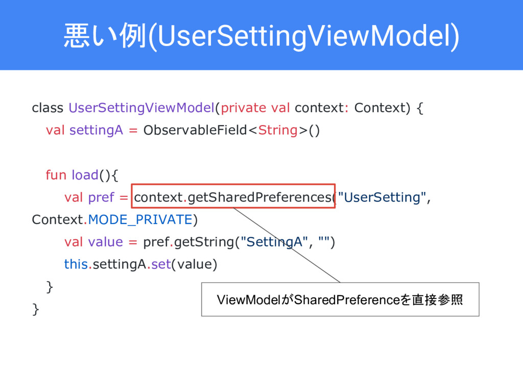 悪い例(UserSettingViewModel) class UserSettingView...