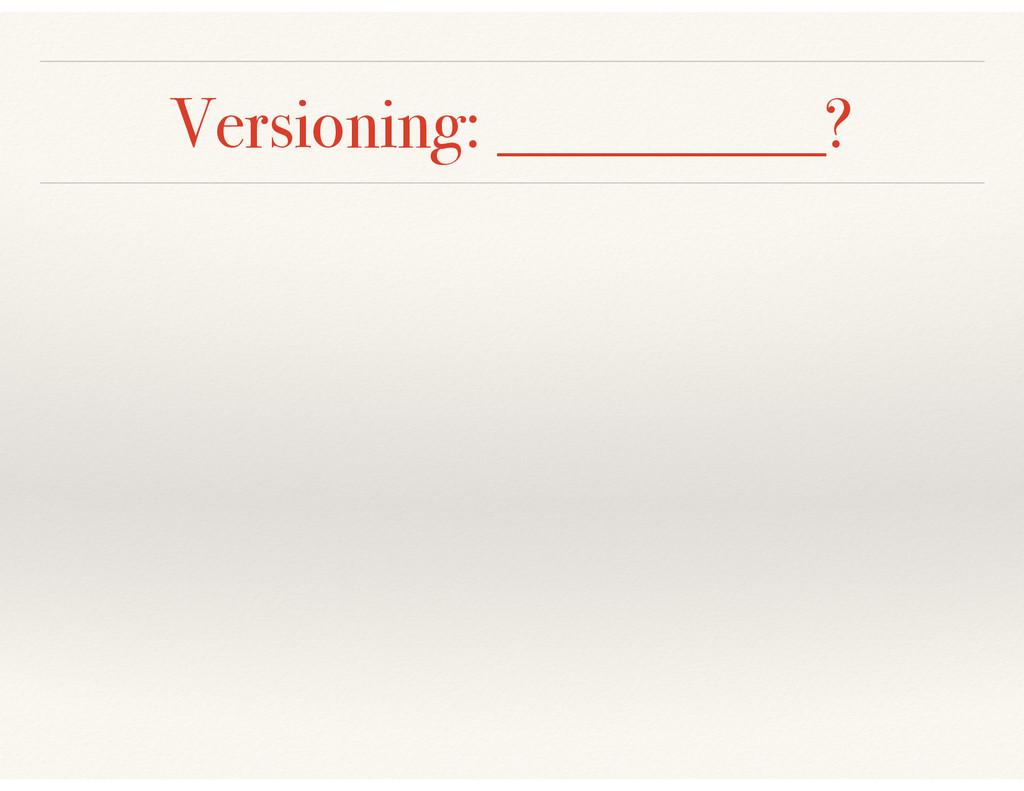 Versioning: __________?