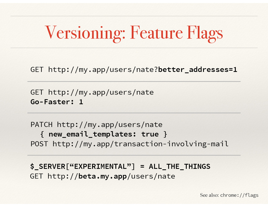 Versioning: Feature Flags GET http://my.app/use...