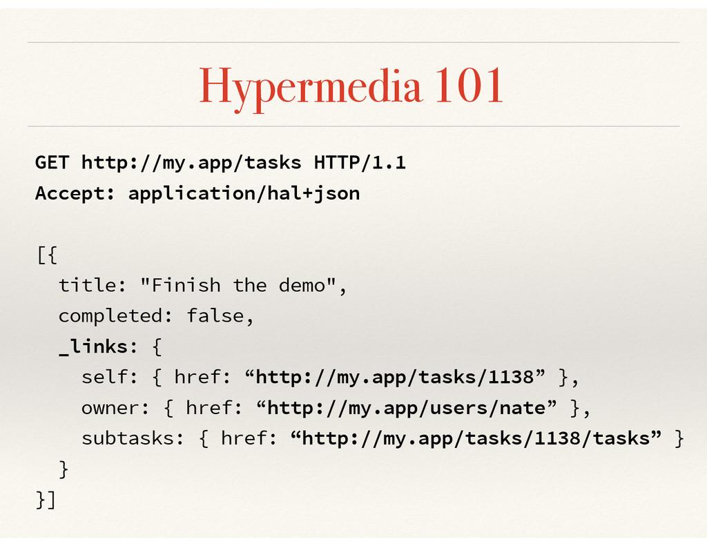Hypermedia 101 GET http://my.app/tasks HTTP/1.1...