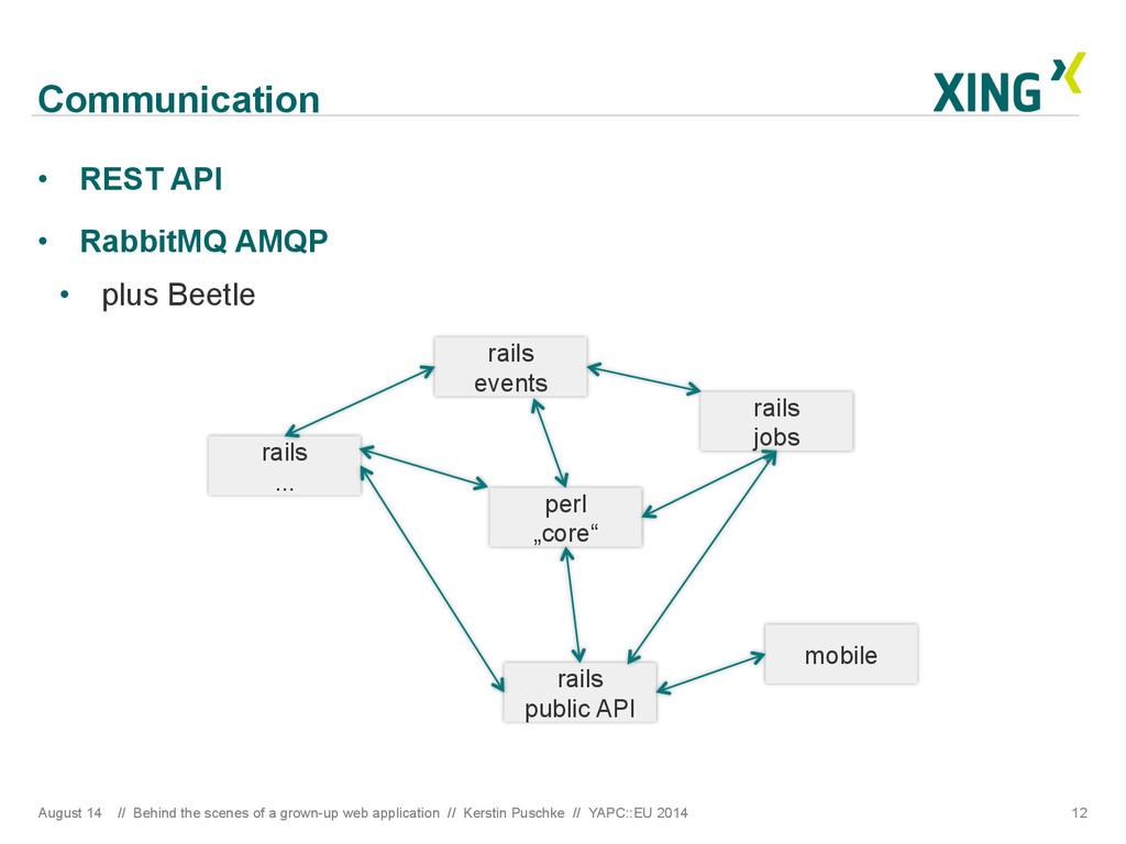 Communication • REST API • RabbitMQ AMQP • p...