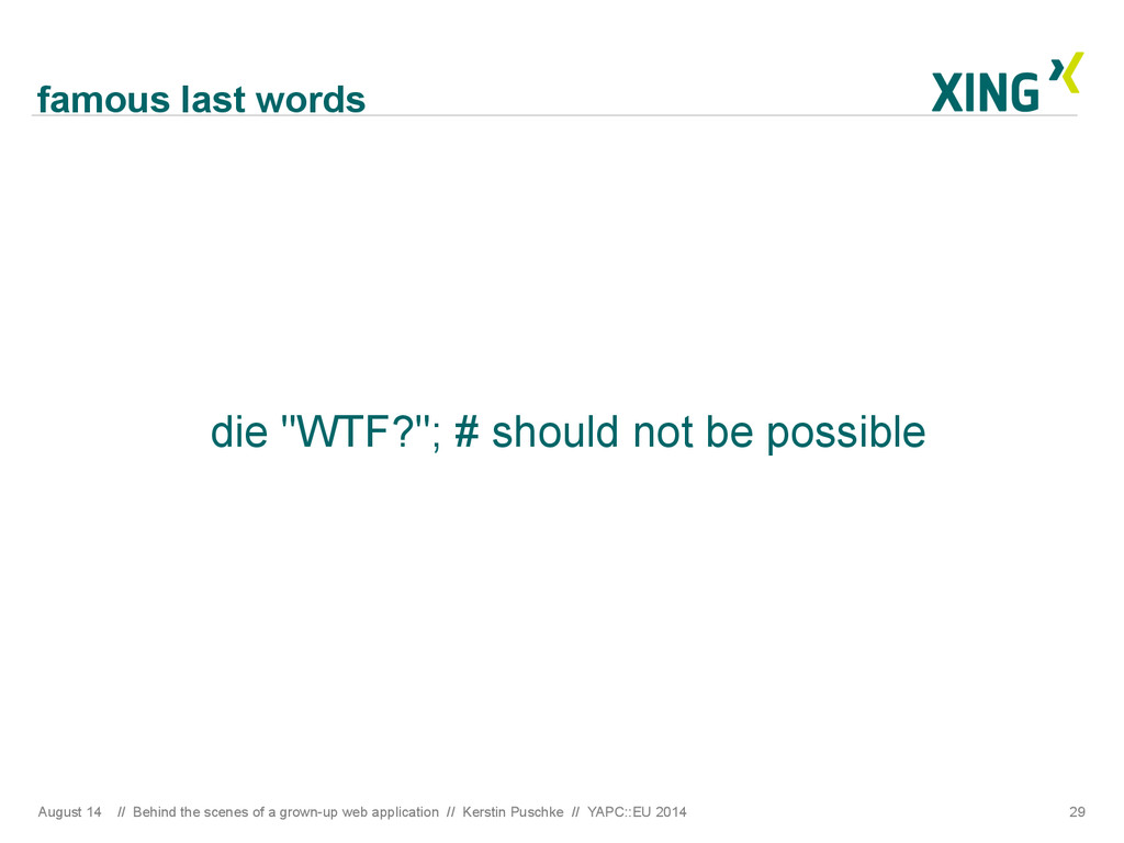 """famous last words die """"WTF?""""; # should not be p..."""