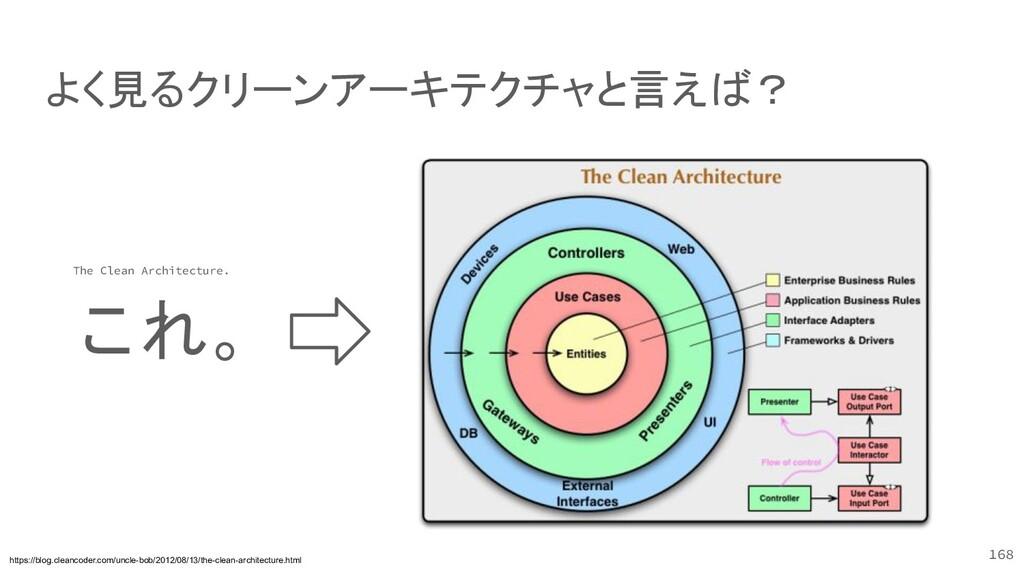 168 よく見るクリーンアーキテクチャと言えば? https://blog.cleancode...