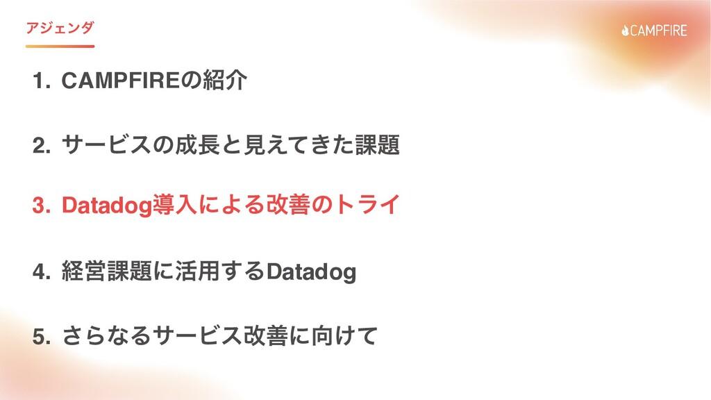 ΞδΣϯμ 1. CAMPFIREͷհ 2. αʔϏεͷͱݟ͖͑ͯͨ՝ 3. Data...