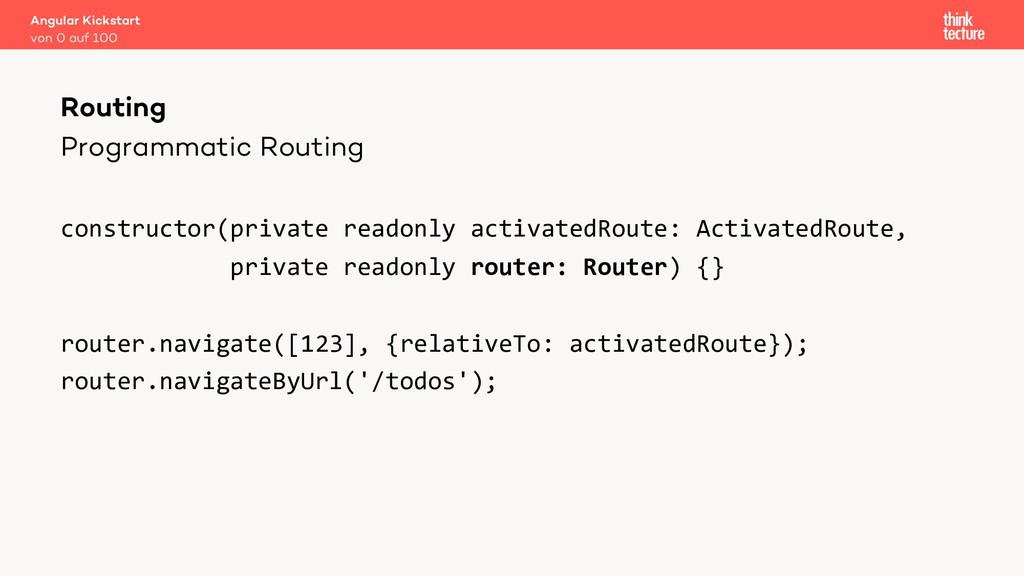 Programmatic Routing constructor(private readon...