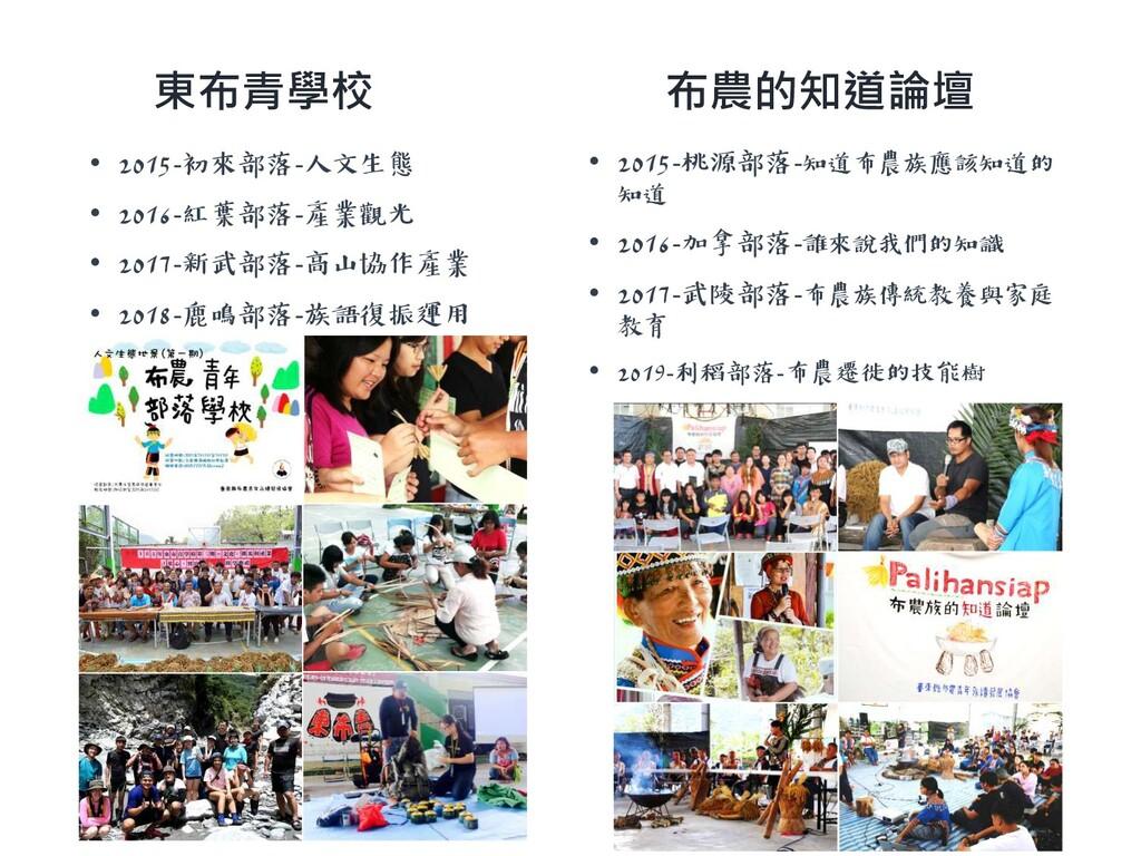 東布青學校 • 2015-初來部落-人文生態 • 2016-紅葉部落-產業觀光 • 2017-...