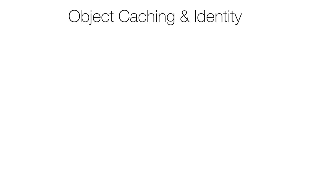 Object Caching & Identity