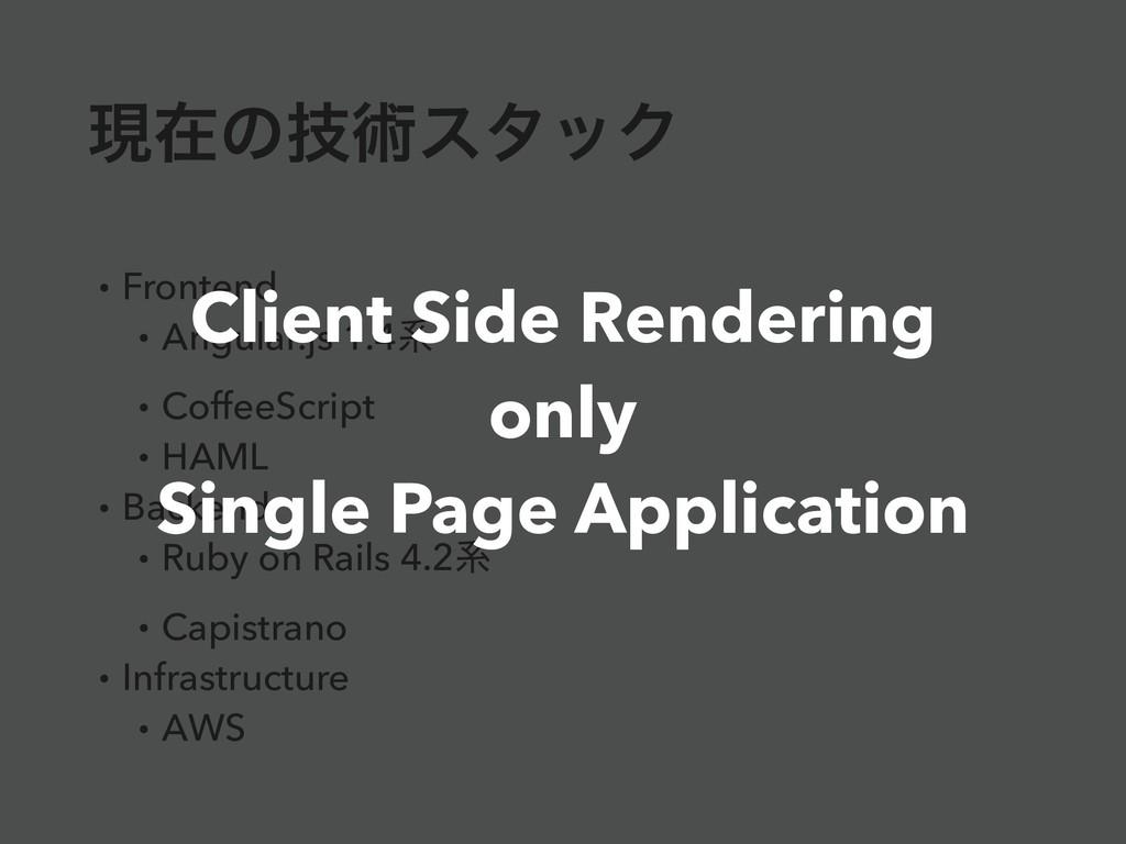 ݱࡏͷٕज़ελοΫ • Frontend • Angular.js 1.4ܥ • Coffee...
