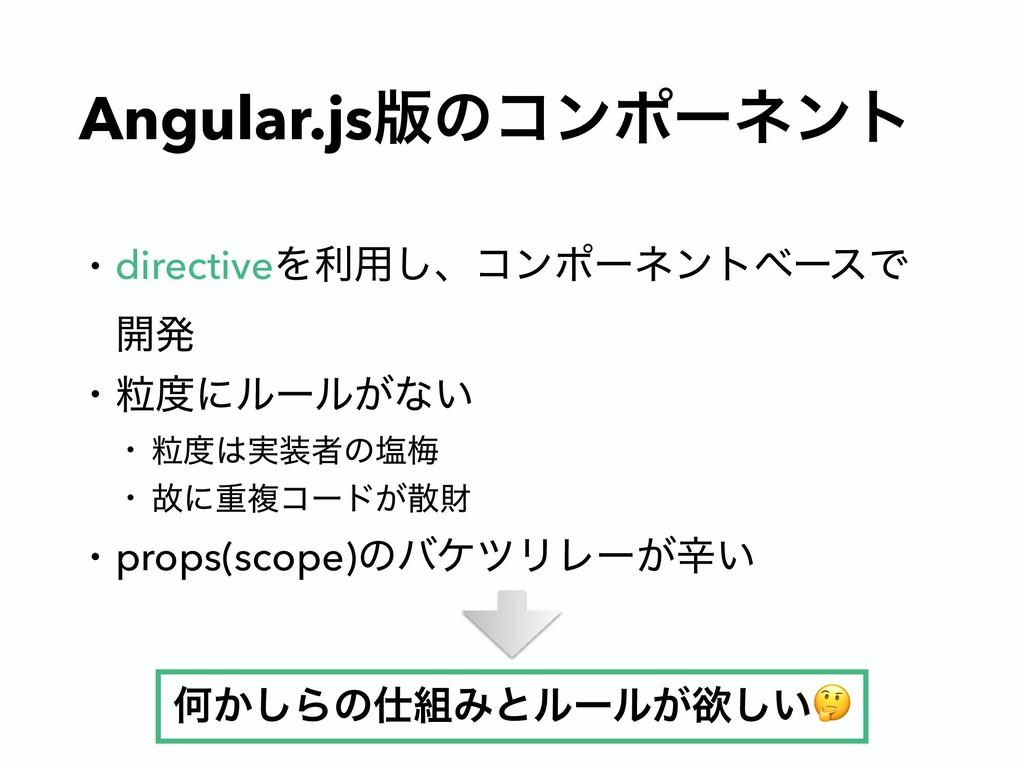 Angular.js൛ͷίϯϙʔωϯτ • directiveΛར༻͠ɺίϯϙʔωϯτϕʔεͰ...