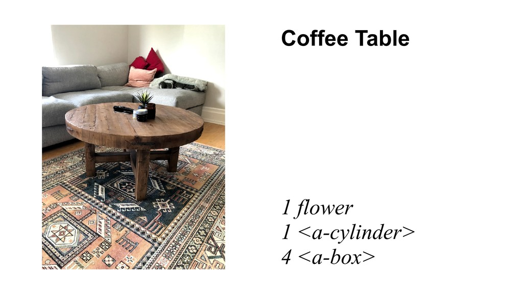 Coffee Table 1 flower 1 <a-cylinder> 4 <a-box>