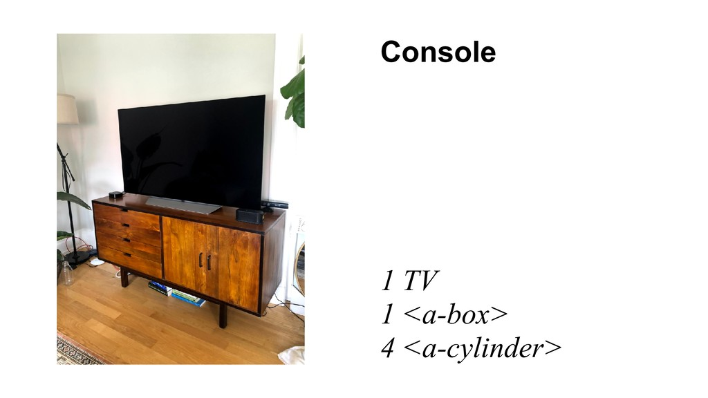 Console 1 TV 1 <a-box> 4 <a-cylinder>