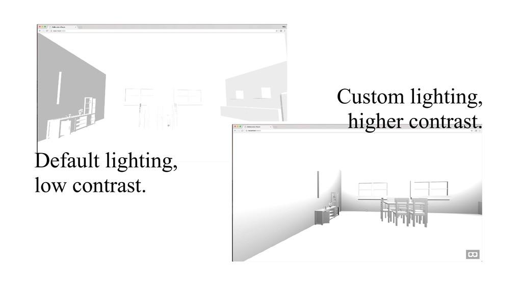 Default lighting, low contrast. Custom lighting...