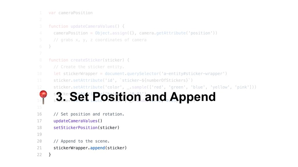 3. Set Position and Append