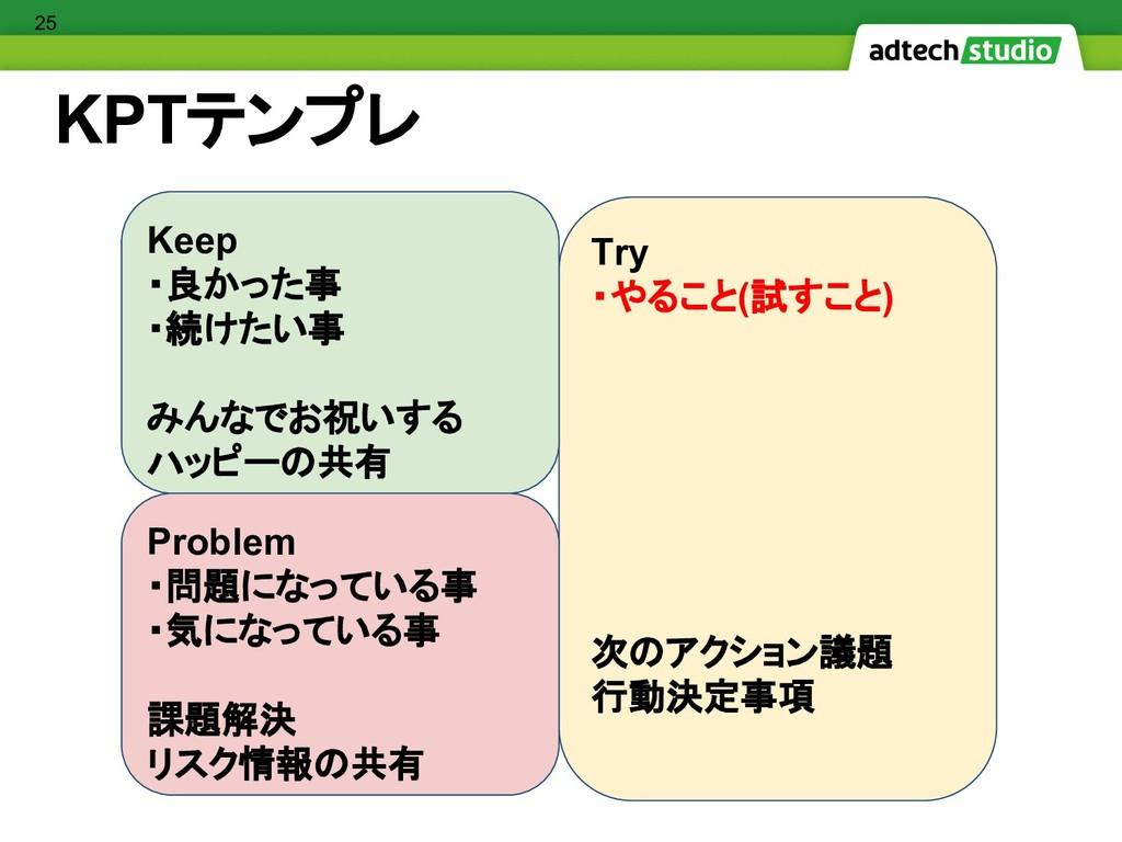 KPTテンプレ Try ・やること(試すこと) 次のアクション議題 行動決定事項 Proble...
