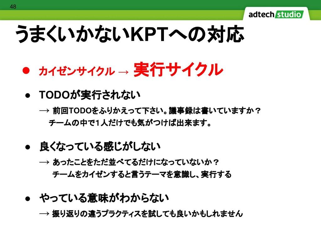 ● カイゼンサイクル → 実行サイクル ● TODOが実行されない → 前回TODOをふりかえ...