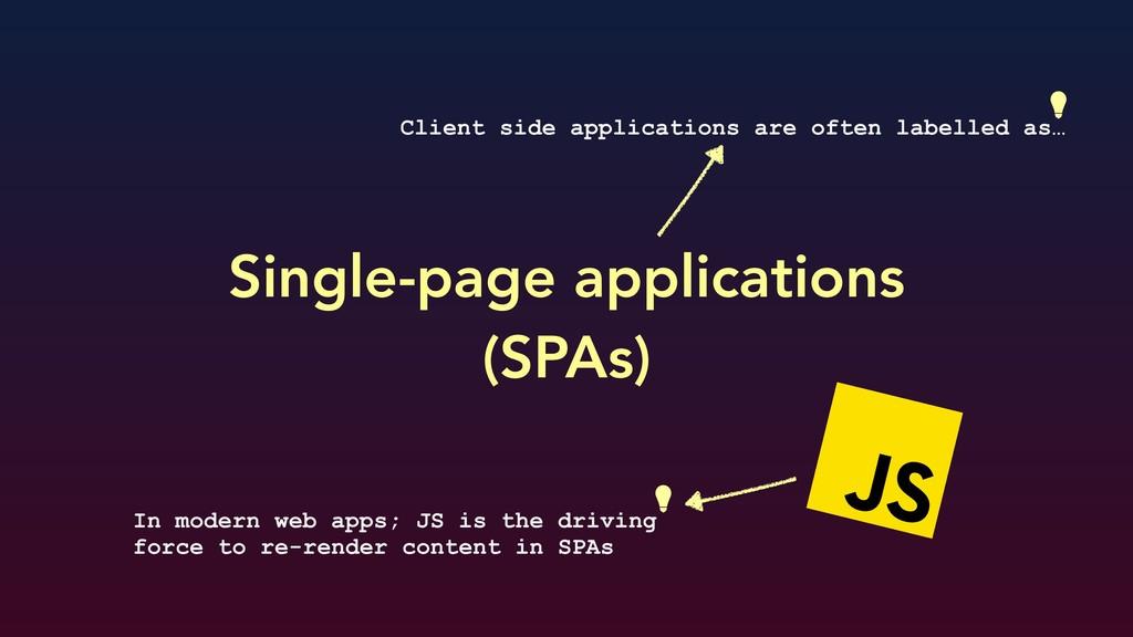 Single-page applications (SPAs) Client side ap...