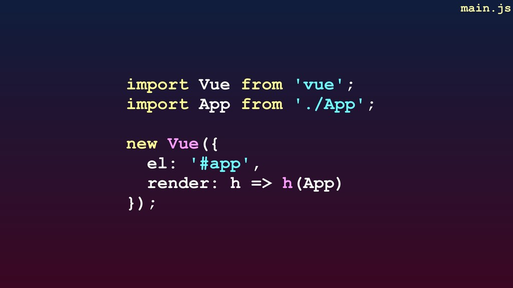 main.js import Vue from 'vue'; import App from ...