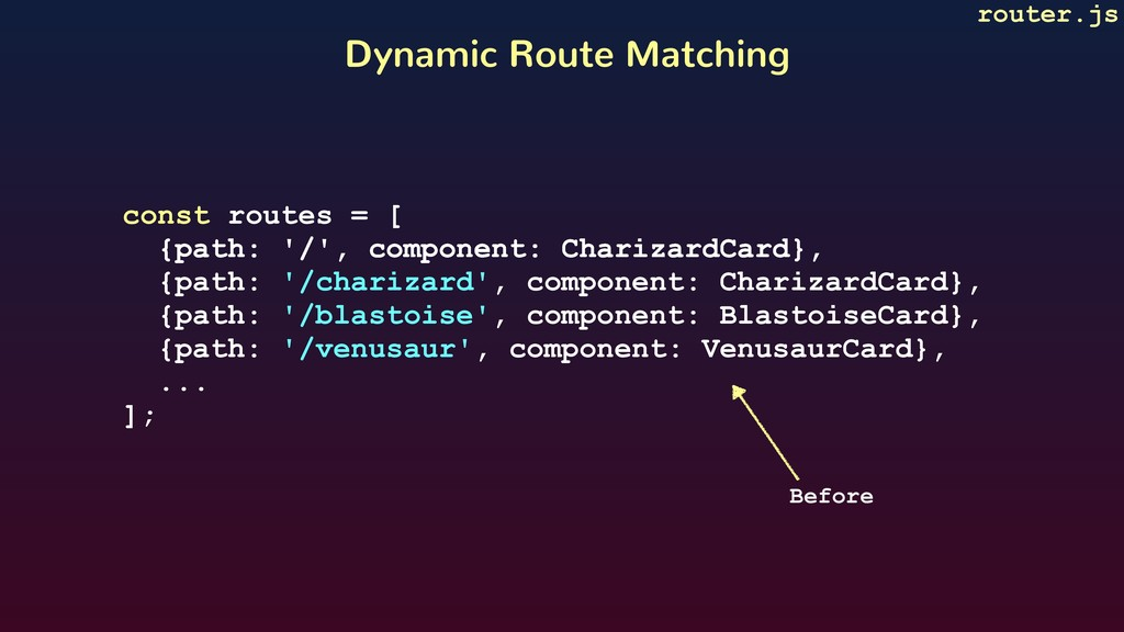 Dynamic Route Matching router.js const routes =...