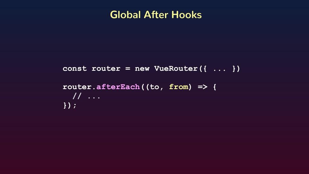 const router = new VueRouter({ ... }) router.af...