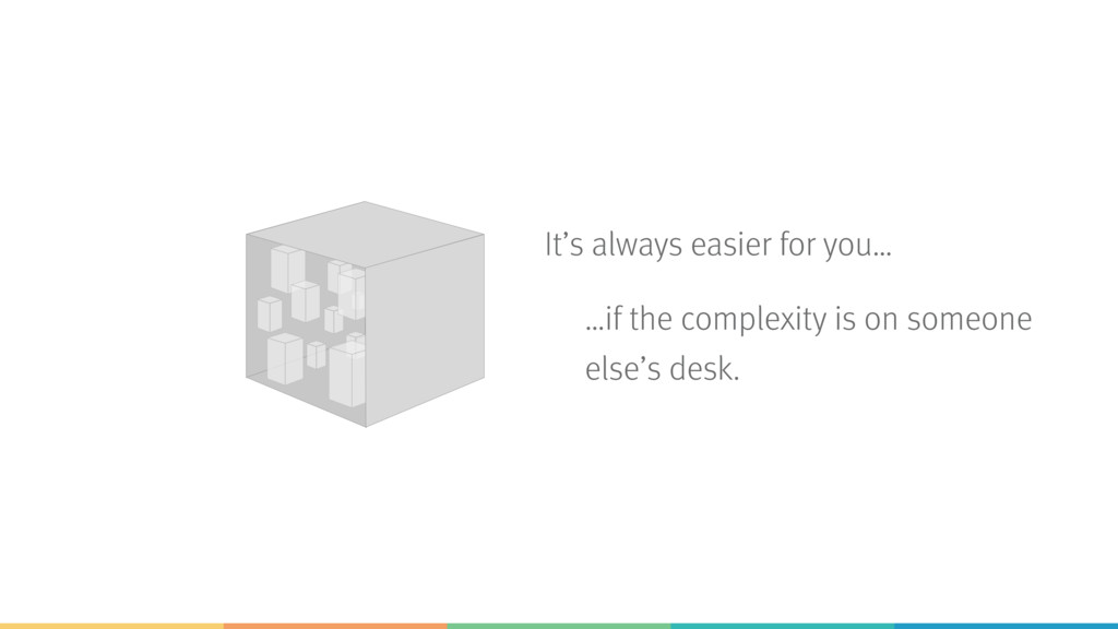 It's always easier for you… …if the complexity ...