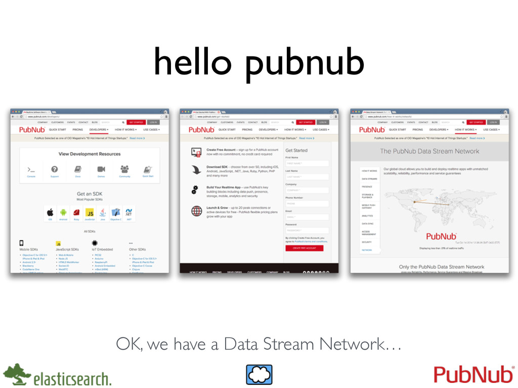 hello pubnub OK, we have a Data Stream Network…