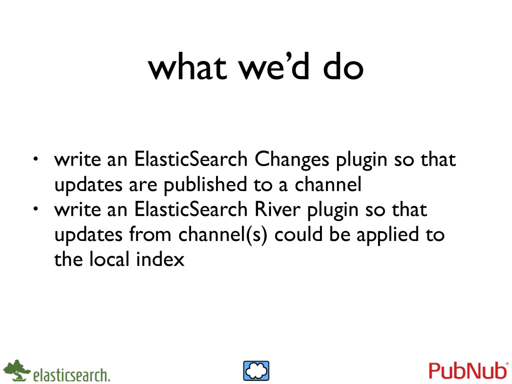 what we'd do • write an ElasticSearch Changes p...