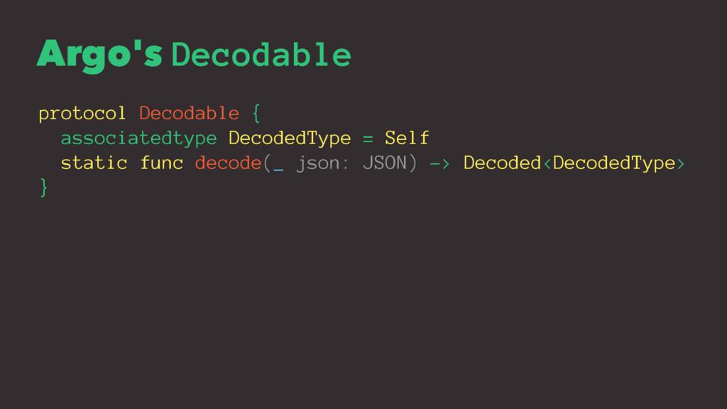 Argo's Decodable protocol Decodable { associate...