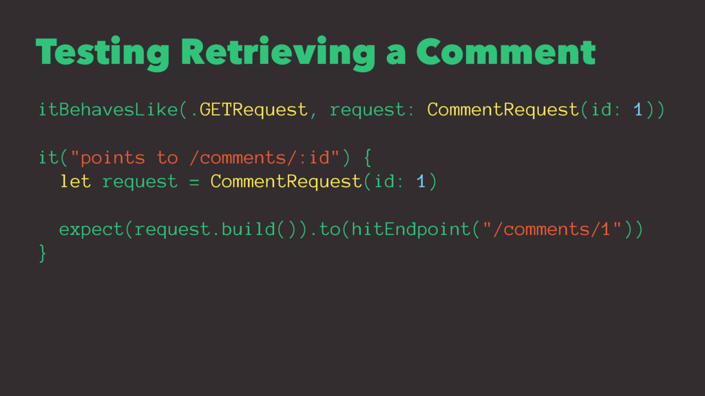 Testing Retrieving a Comment itBehavesLike(.GET...