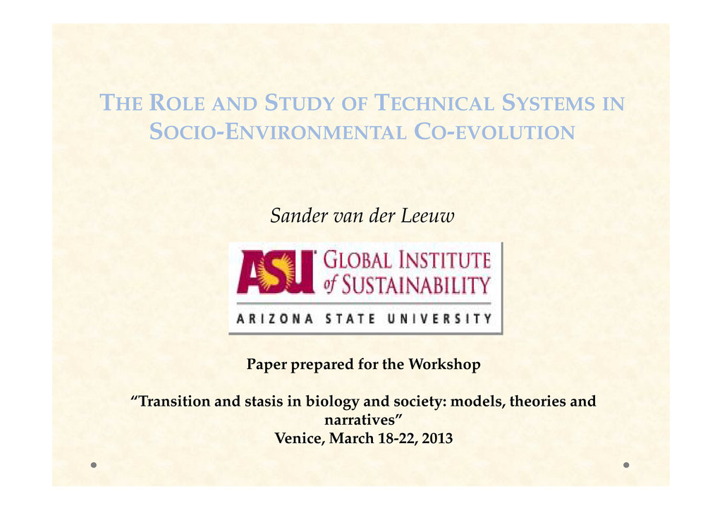 THE ROLE AND STUDY OF TECHNICAL SYSTEMS IN SOCI...