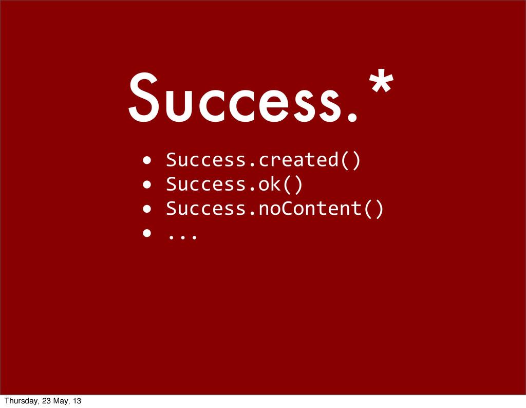 Success.* • Success.created() • Success.o...