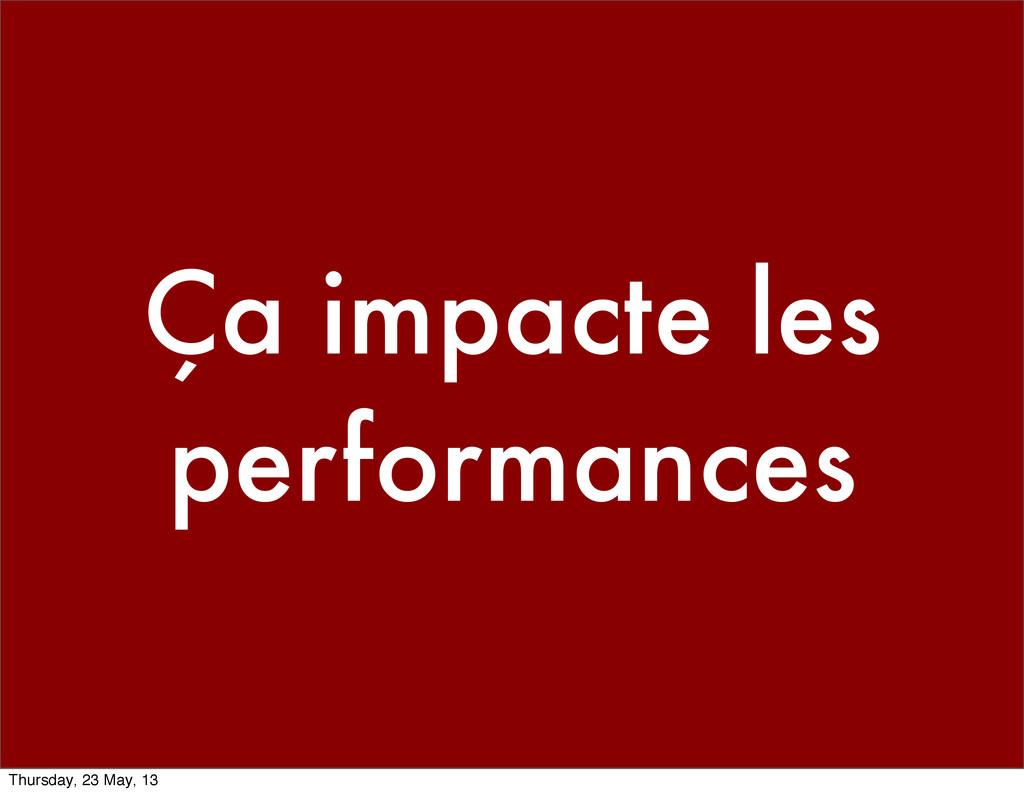 Ça impacte les performances Thursday, 23 May, 13