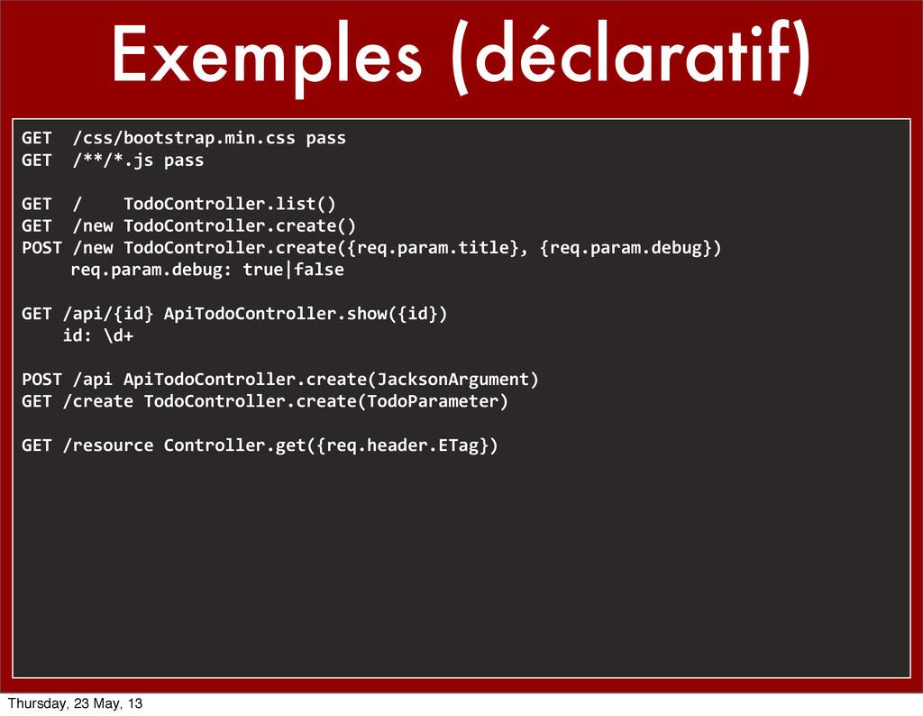 Exemples (déclaratif) GET  /css/bootstrap...