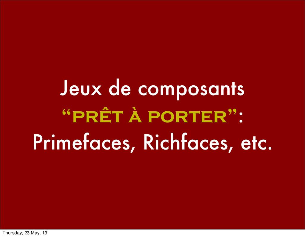 """Jeux de composants """"prêt à porter"""": Primefaces,..."""
