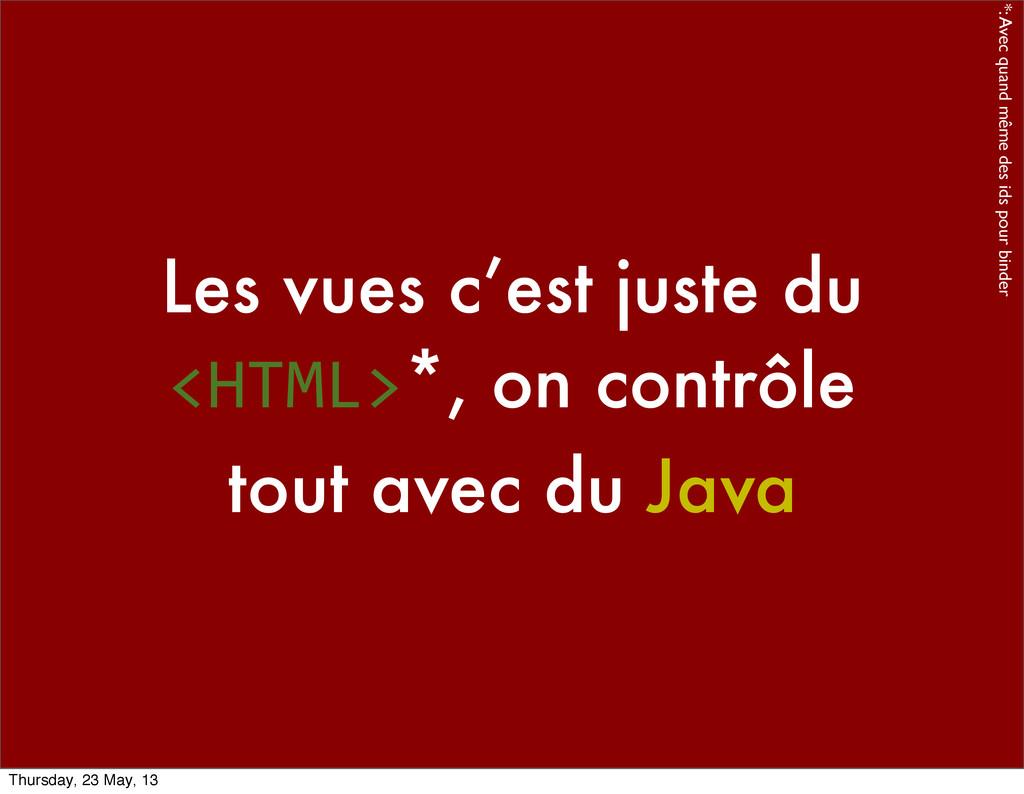 Les vues c'est juste du <HTML>*, on contrôle to...