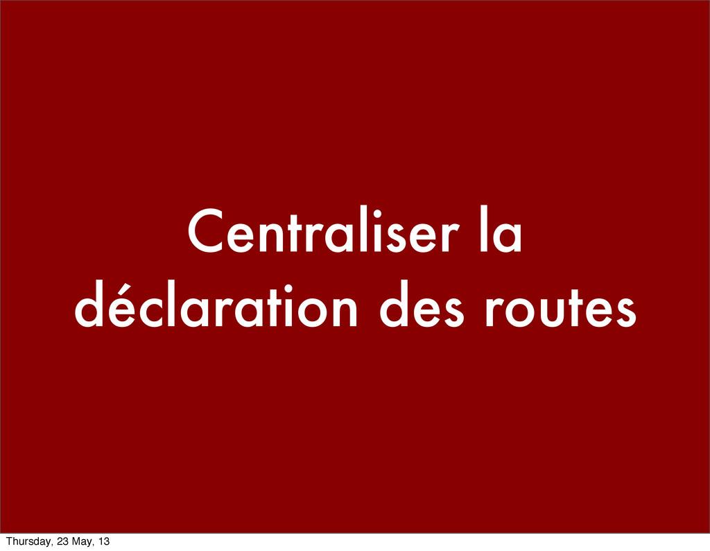 Centraliser la déclaration des routes Thursday,...