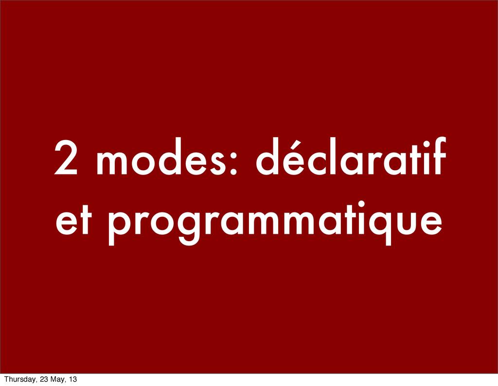 2 modes: déclaratif et programmatique Thursday,...