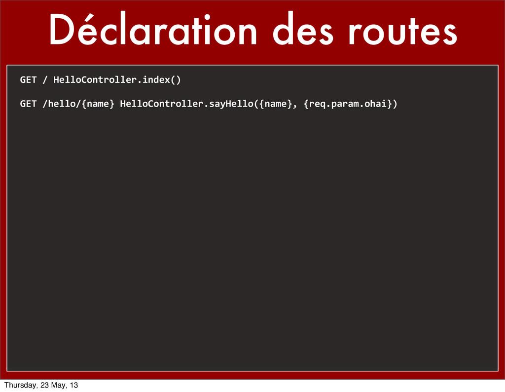 Déclaration des routes GET / HelloControl...