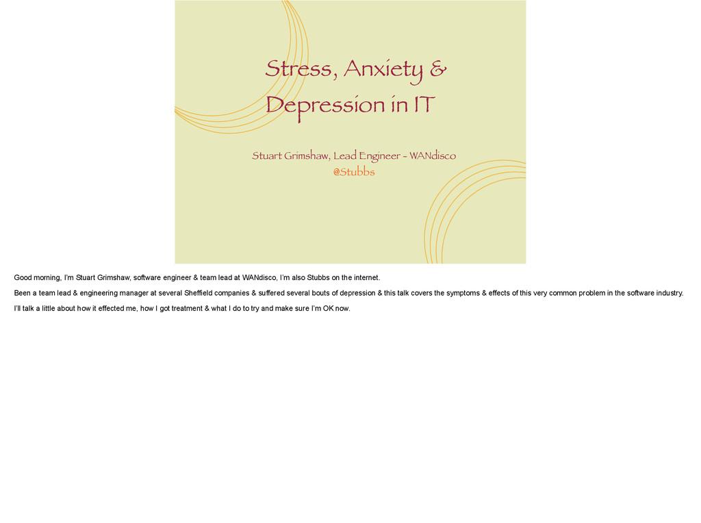 Stress, Anxiety & Depression in IT Stuart Grims...