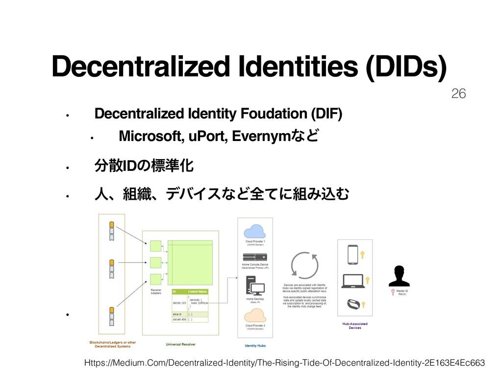 26 Decentralized Identities (DIDs) • Decentrali...