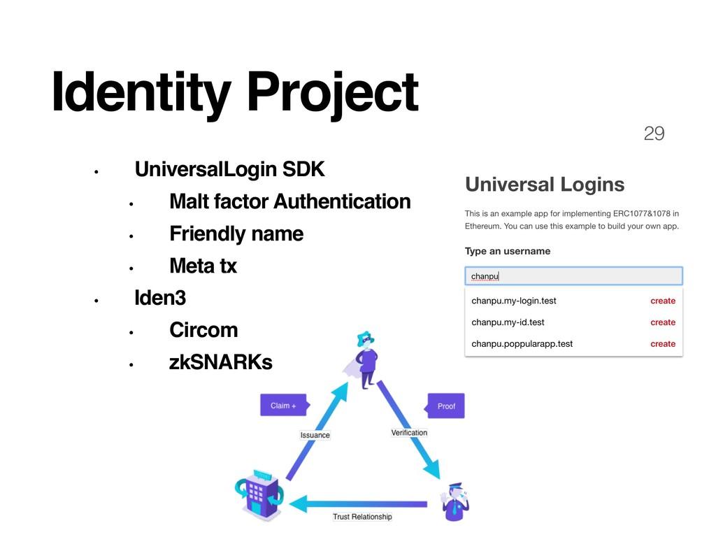 29 Identity Project • UniversalLogin SDK • Malt...