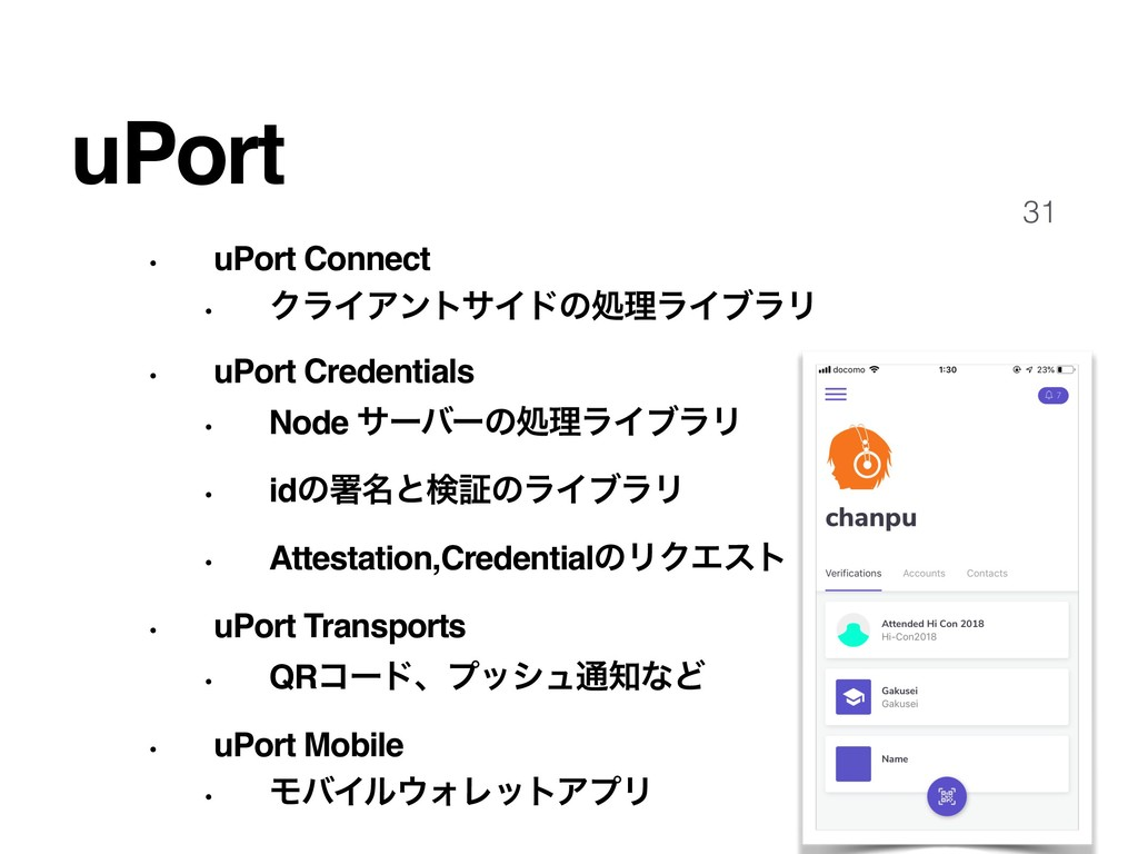 31 uPort • uPort Connect • ΫϥΠΞϯταΠυͷॲཧϥΠϒϥϦ • ...
