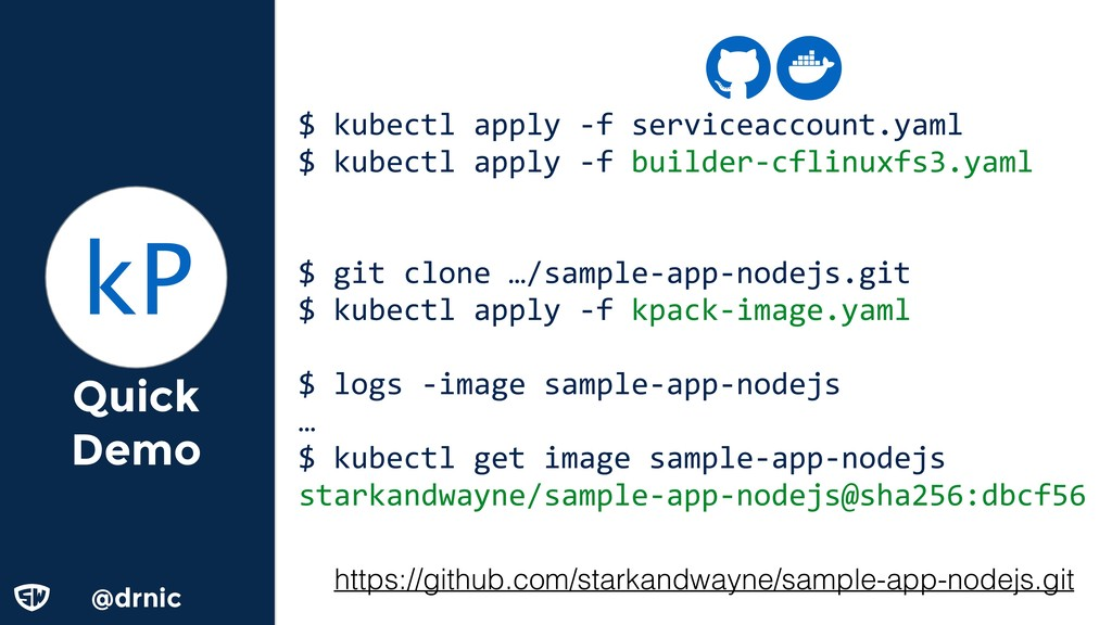 @d @drnic Quick Demo $ kubectl apply -f service...