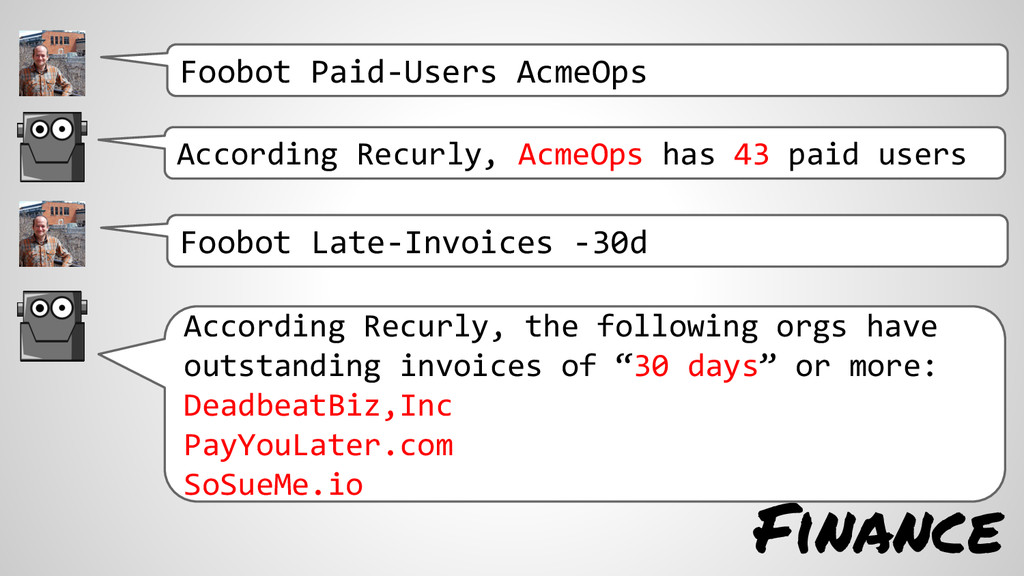 Finance According Recurly, AcmeOps has 43 paid ...