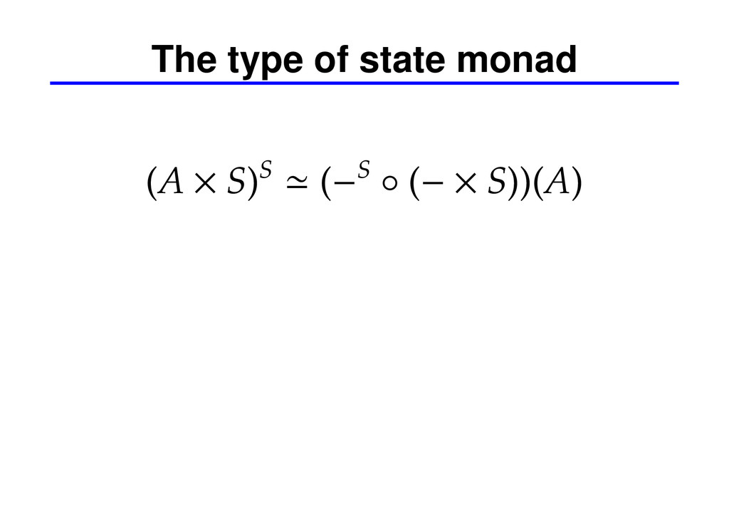 The type of state monad (A × S)S ≃ (−S ◦ (− × S...